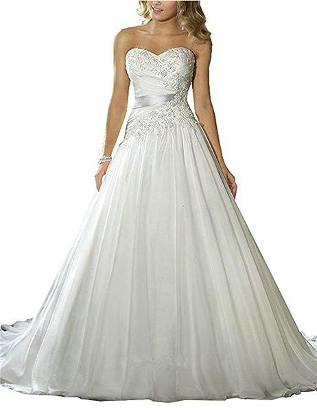 ANJURUISI Vestido de novia de los vestidos de boda de la playa del plisado del Applique del tren de la corte del amor de las mujeres: Amazon.es: Ropa y ...