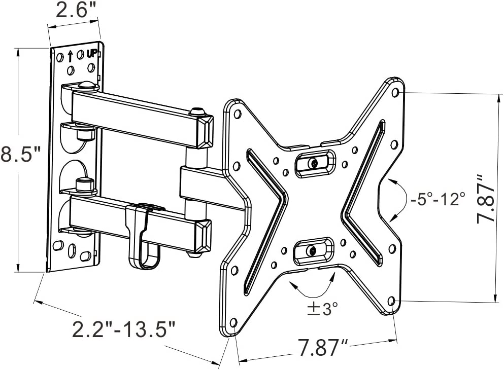 Fleximounts 13-42 Inch TV Wall Mount Bracket Full Motion Articulating Arms Swivel and Tilt fit for Max VESA 200x200mm TV LED LCD Plasma Flat Screen
