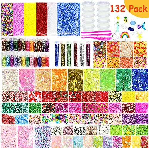 Habbi Slime Supplies Kit - 132 Pack DIY Slime Beads Charms Include Fishbowl Beads, Floam Balls, Glitter, Shells, Confetti, Cake Flower Fruit Slices, Slime Tools and Accessories for DIY Slime Making