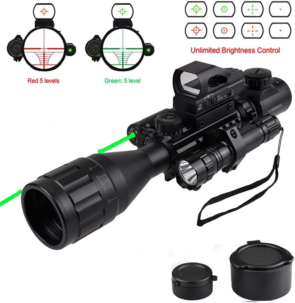 Rifle Scope Combo C4-16×50 Dual Illuminated with Green Laser sight 4 Holographic Reticle Red Green Dot for Weaver Rail Mount