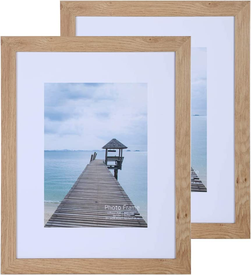 Light Apricot 8x10 Wood Picture Frame Set of 2 with Real Glass,Photo Frames Collage Display Pictures 5x7 with Mat or 8x10 Without Mat, Mounting Hardware Included for Wall or Tabletop Display Living room Home Decor