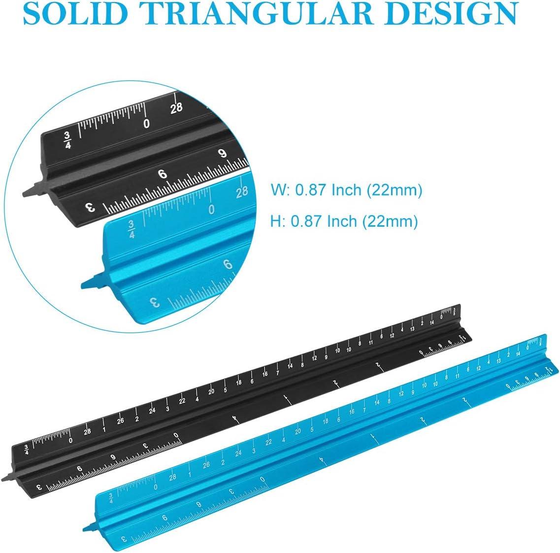 Hotgod 30,5 cm Architektur-Lineal 1 blaues Architektur-Lineal + 1 schwarzes Architektur-Lineal dreieckiges Zeichenwerkzeug f/ür Blueprints