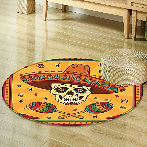 Print Area rug Mexican Sugar Skull Carnival Celebration Orange Teal Green Perfect for any Room, Floor Carpet-Round 24