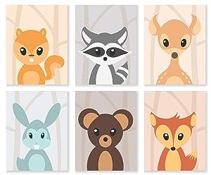 Damdekoli Woodland Baby Animal Prints, 8x10 Inches, Set of 6, Nursery Decor, Forest, Girls Boys Baby Wall Art
