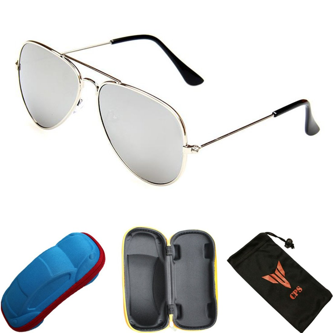 1 Pair Kids Children Youth Sunglasses Silver Mirrored Lens With Car Storage Carrying Case (Aviator Glasses, Non-Polarized)