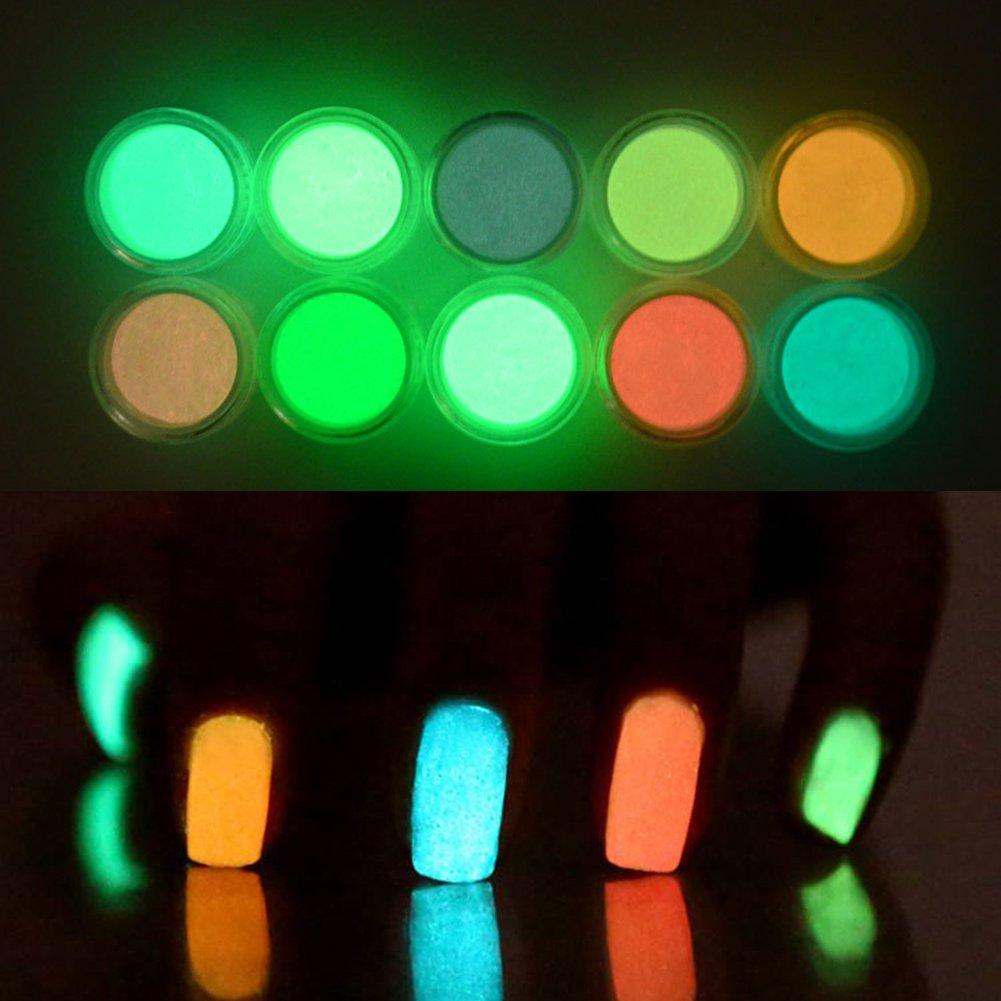bulary 10 colores Polvos para Uñas Brilla en la oscuridad luminoso ...