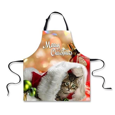 for u designs merry christmas cat print aprons for couples for cooking - Merry Christmas Cat