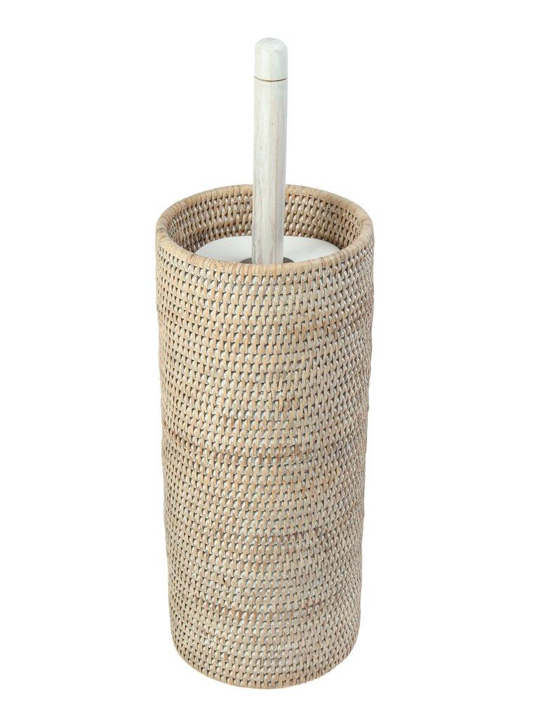 KOUBOO 1030058 3 Rolls La Jolla Hand Woven Rattan Toilet Roll Stand, 6.75'' x 6.75'' x 20.5'', White Wash by Kouboo