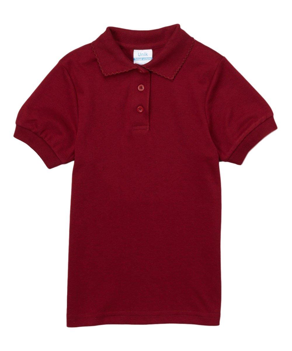 unik Girl's Uniform Polo Shirt Short Sleeve (Burgundy, 5)