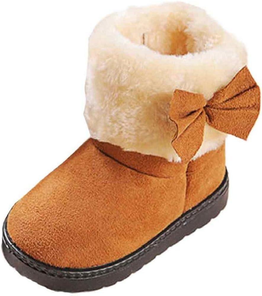 Amlaiworld Mode Bowknot Winter D/émarrage B/éb/é fille Style coton Bottes de neige chaudes Chaussures Bottes B/éb/é 21, Brown