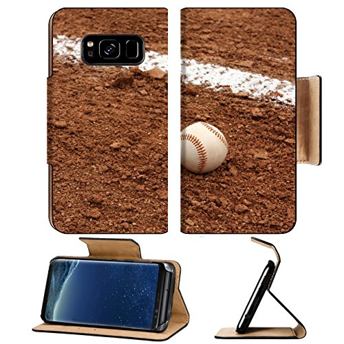 MSD Premium Samsung Galaxy S8 Plus Flip Pu Leather Wallet Case Baseball near the chalk line of the Infield IMAGE 23696523