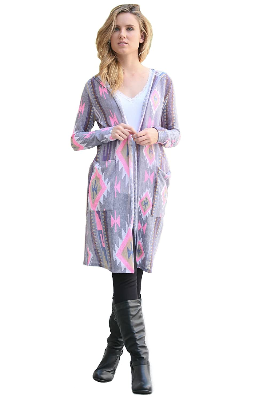 Flamingo Long Sleeve with Hood Long Cardigan, Light Purple