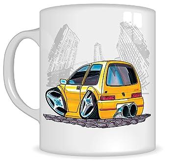 Regalos de Koolart k084-mg dibujos animados de Fiat Cinquecento - Caricatura Amarillo Fiat Taza Regalo Para Hombres (tazas): Amazon.es: Coche y moto