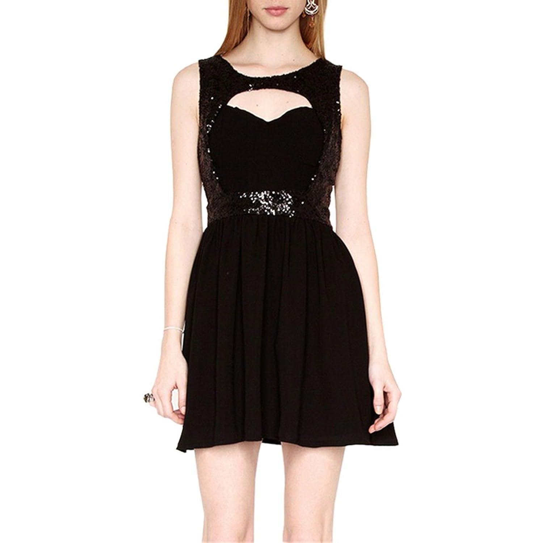 Womens schwarze aermellose Brust aushoehlen Pailletten Backless gefaltete Sommerkleid Kleid