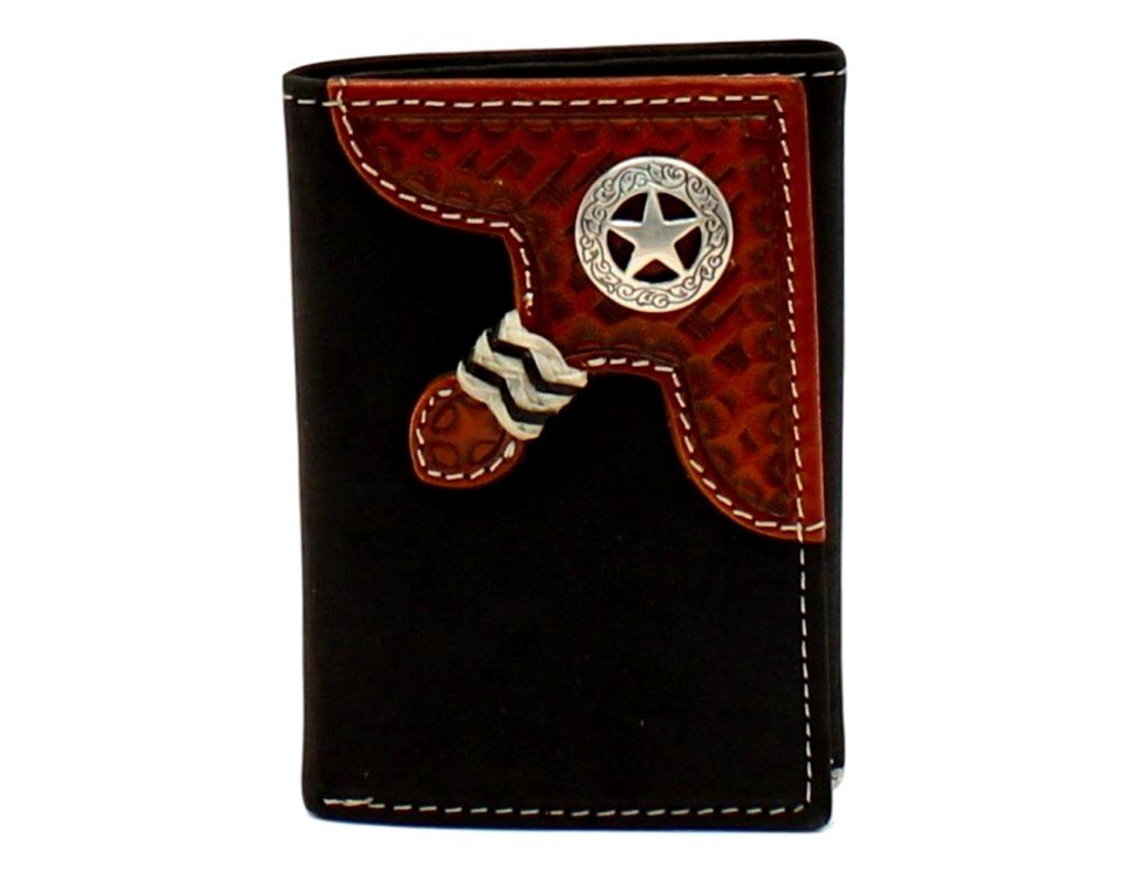 Nocona Men's Trifold Round Star Concho Contrast Stitching Wallet, Black, Tan, OS