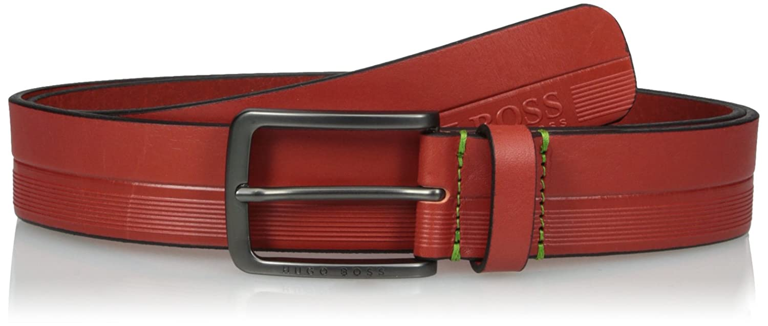 BOSS Green Men's Timothy Logo Embossed Leather Belt 50379488