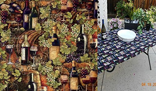Custom Fitted, Stay Put, Elasticized Tablecloth.Tuscan Provence Wine Print  Tablecloth For Tables