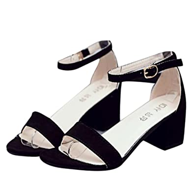 Summer Sandals Inkach Women Single Band Sandals Chunky Heel Sandal With Ankle Strap Summer Shoes