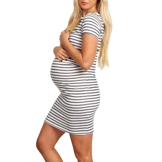K-youth Vestidos Embarazada Vestido para Mujeres Embarazadas Vestidos Premama Verano Manga Corta Rayas Vestidos De Maternidad para Fiesta Vestidos Playa ...