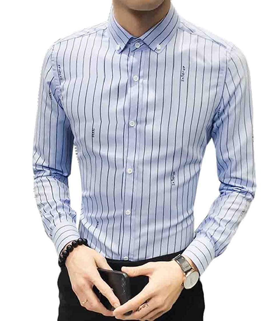 Joe Wenko Men Long-Sleeve Button Front Embroidery Slim Fit Shirts