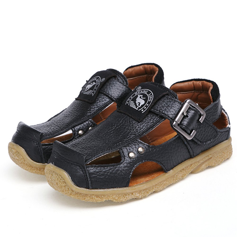 Navoku Leather Closed Toe Hiking Walking Outdoor Sandals for Boys