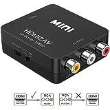 HDMI to AV Converter,Asbter HDMI to RCA AV/CVSB L/R Video 1080P HDMI2AV Support NTSC PAL Output HDMI TO AV Scaler Switch Adapter