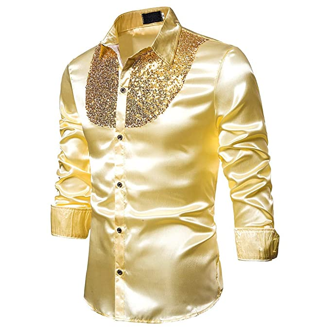 Gold, Sequined 1970s Disco Shirt for Men - Other colours available