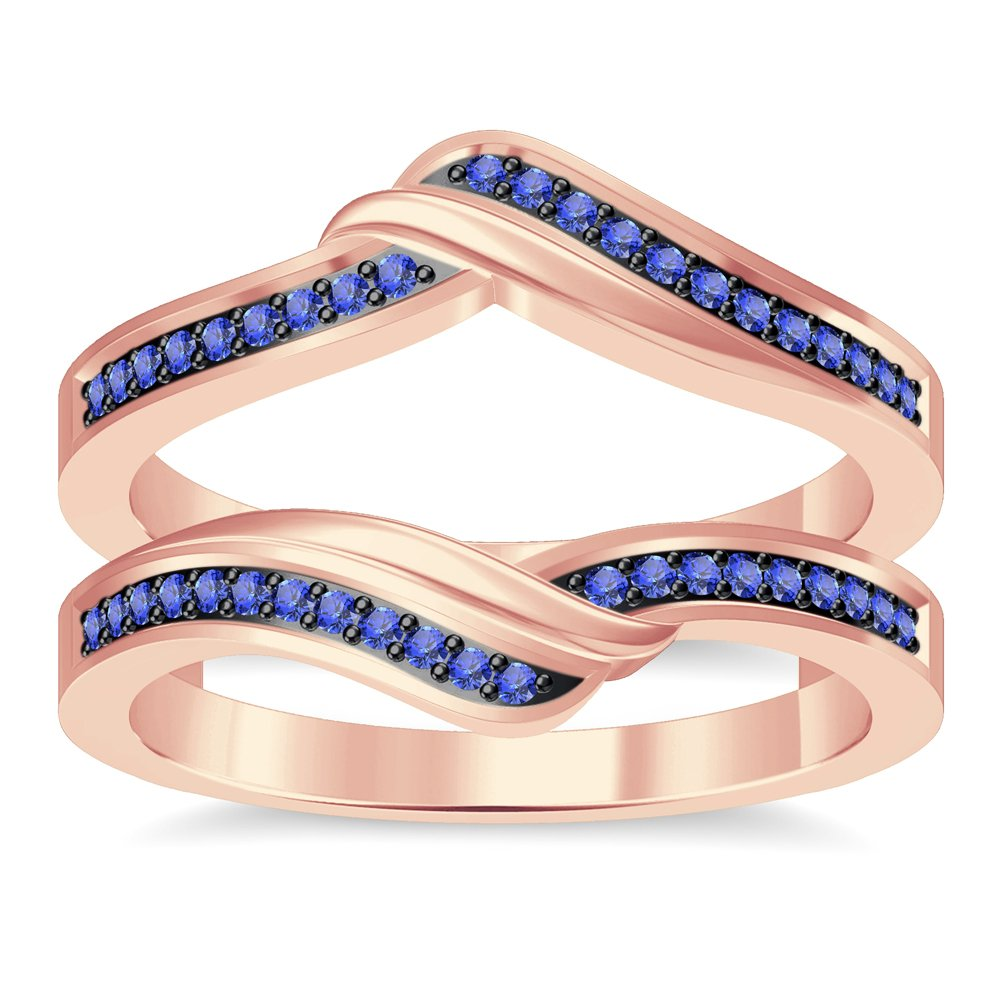 luxrygold Women's Spl Ring 14K Guard Enhancer Wrap Ring 14K Rose Gold Over Tanzanite Sim Diamond