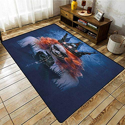 Living Room Rug,Queen,Queen of Death Scary Body Art Halloween Evil Face Bizarre Make Up Zombie,Easy Clean Rugs Navy Blue Orange -