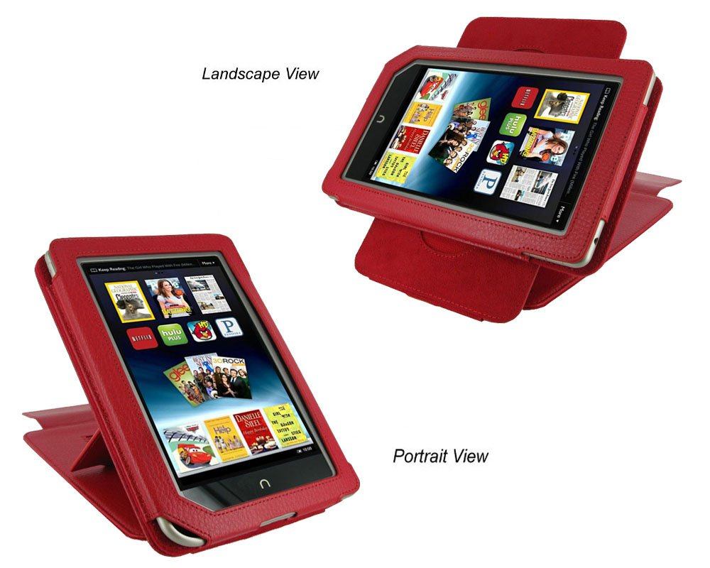 rooCASE (Red) Leather Case Cover with 22 Angle Adjustable