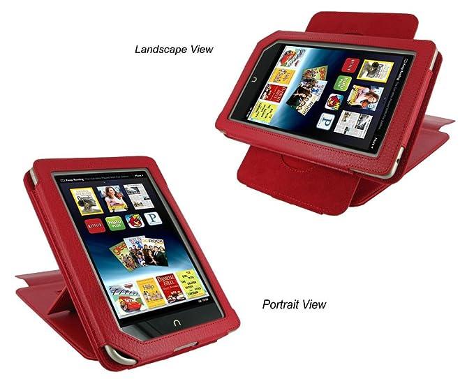 rooCASE (rojo) funda de piel Cover con 22 ángulo ajustable soporte ...