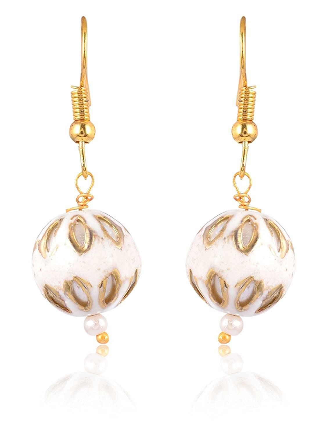 Subharpit White Color Pearl Golden Color Metal Non Precious Indian Ethnic Tratitional Drop