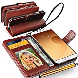 Samsung Galaxy A9 A 9 / Samsung Galaxy A9 Pro Rich Leather Stand Wallet Flip Case Cover Book Pouch / Quality Slip Pouch / Soft Phone Bag (Specially Manufactured - Premium Quality) Antique Leather Case With 2 IN 1 Touch Stylus Pen Brown