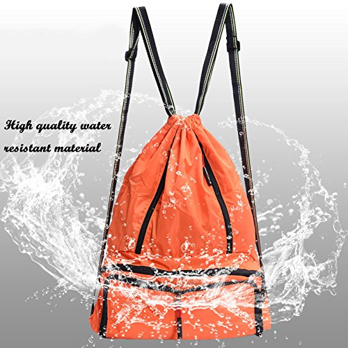 Drawstring Backpack Cinch Sack Foldable Sackpack Lightweight Gym Sack for Summer Swimming Travel Beach Dancing Gym Sports by Yinjue (Image #2)