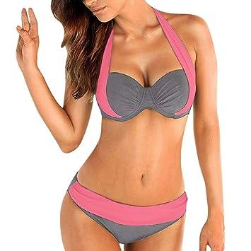 Bikini Push-Up Acolchado de Cintura Alta para Mujer Traje de Baño ...