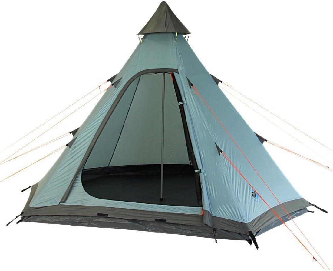 10T Tipi Zelt für 3 Mann, Campingzelt in 2 Farben zur Wahl, wasserdichtes Indianerzelt, 5000 mm Pyramidenzelt, Teepee mit Bodenwanne