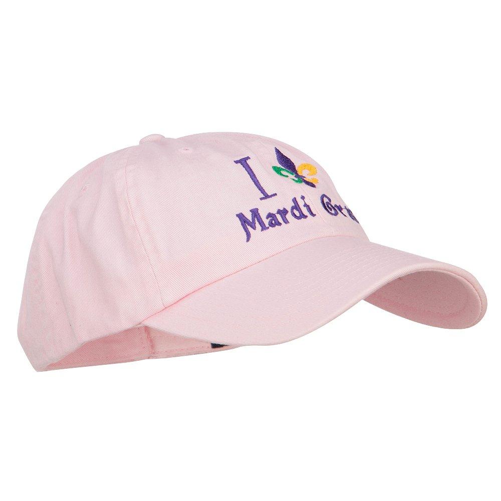 I Love Mardi Gras with Fleur de Lis Embroidered Cotton Cap