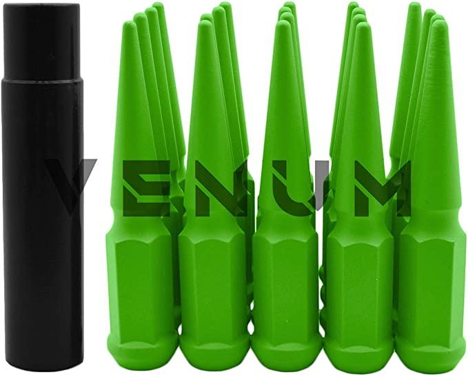 Venum wheel accessories 32 Pc Powder Coated Gloss Black Spike Lug Nuts 1 Piece Construction Compatible with Ford 1999-2002 F250 F350 8x170 Aftermarket Wheels 4.5 inch Tall 14x2.0