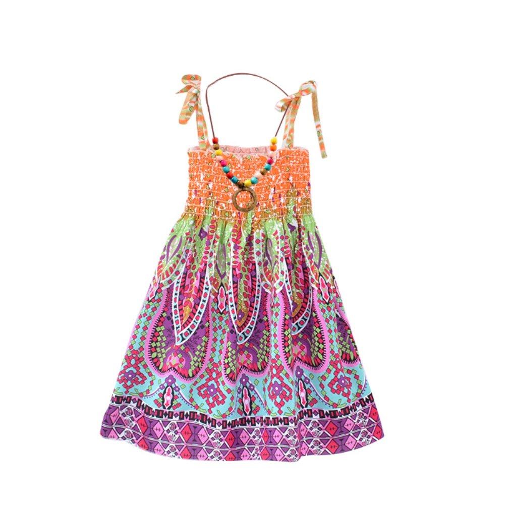Blaward Ragazze Vestiti dalla Estate//Senza Maniche Spiaggia Vestito per Bambini//Bretelle della Boemia Sundress Fiore Stampato Abito con Collana