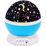 (Promotions)SOLMORE Lampada Stelle LED Luna proiettore cielo stellato luci notturne lampada proiettore di stelle per bambini con Cavo USB blu