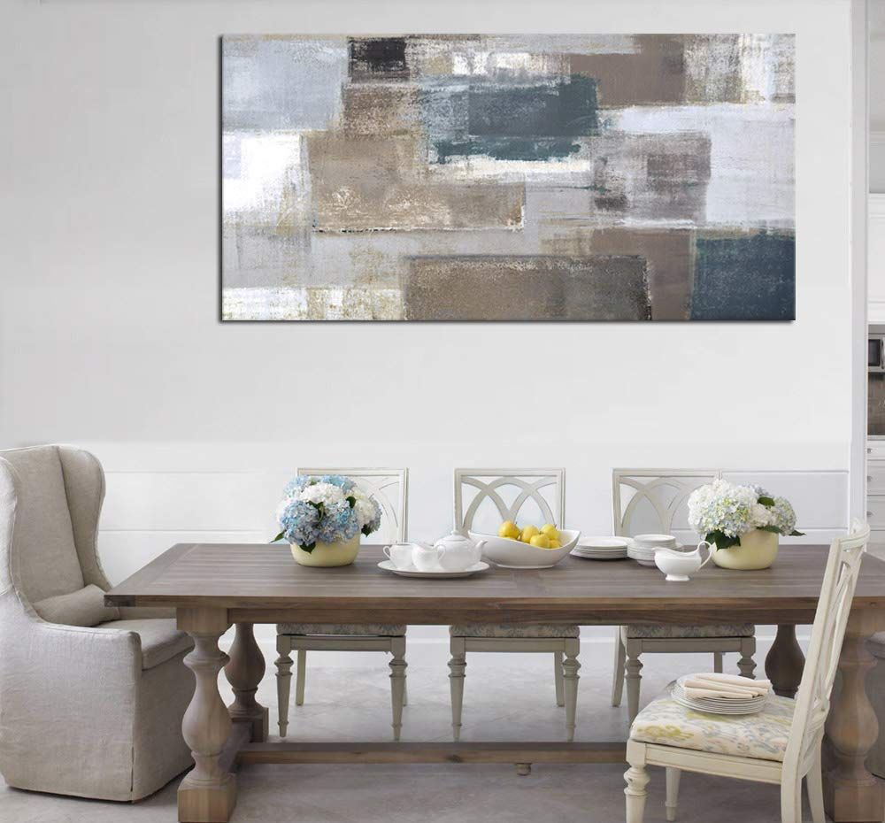 Canvas Wall Art Abstract Painting Long Canvas Pictures Prints Contemporary Wall Art Patch Pattern Design Artwork Sepia Grey Blue for Office Wall Decor Home Decoration Framed Ready to Hang 20 x 40
