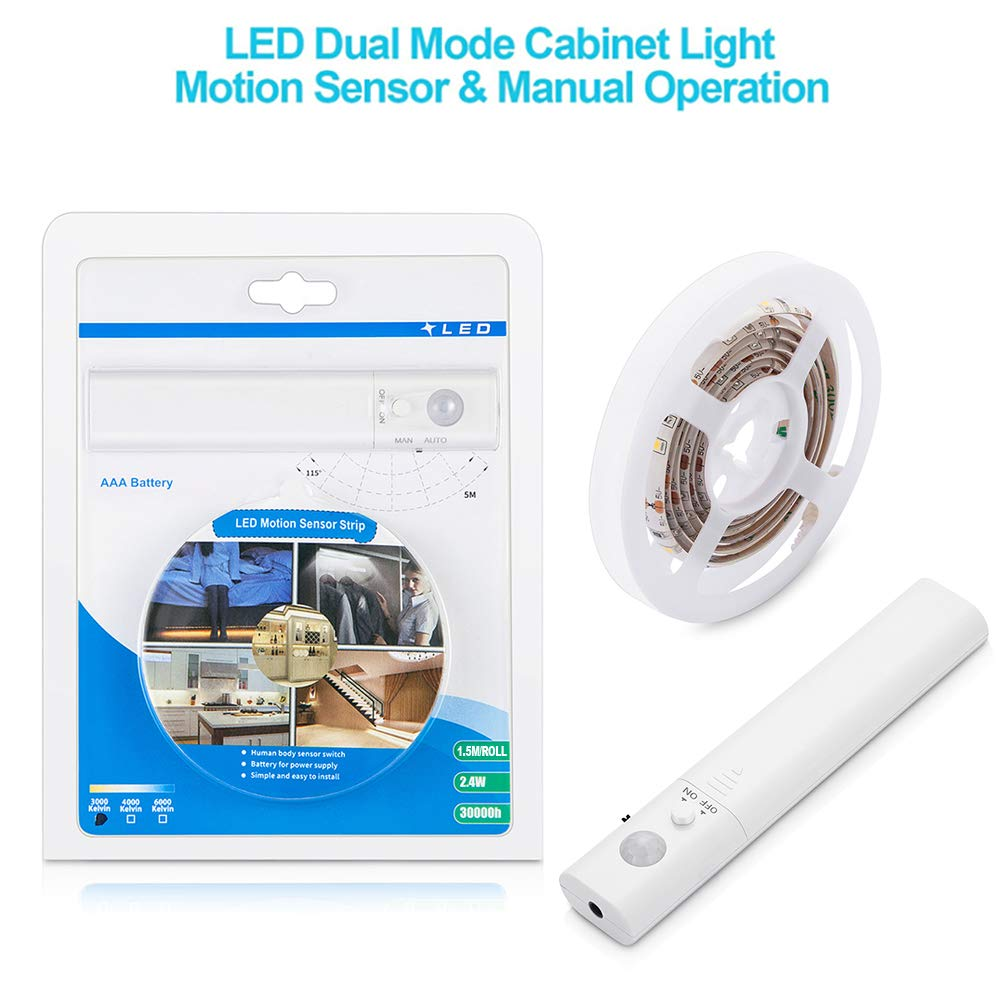 LUXJET® 45LED 1.5M tira luz cuerda,Luz Armario Luz LED Nocturna con Sensor de Movimiento para Pasillo Baño Armario Cocina(funciona con 4 pilas AAA, No Incluidas)