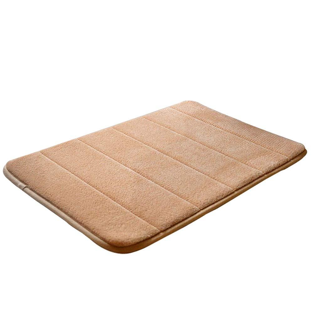 Beige-2 90140CM Non-Slip Coral Suede Carpet Door Mat Home Kitchen Bathroom Living Room Carpet Mat Multi-Size Multi-color Optional (color   Brown-2, Size   60  180CM)