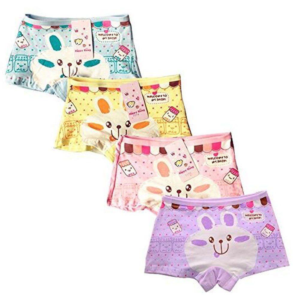 ARAUS-Kinder Unterwäsche Junge Mädchen Hase Cartoon Unterhosen Atmungsaktive Weiche Bequeme Baumwolleunterwäsche Unterhosen Set 4 Packung für 2-10 Jahre