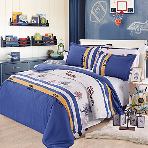 NANKO Blue Yellow Duvet Cover Striped Full/Queen Size Double Cover- Soft Lightweight Printed Microfiber - Comfortable Dorm Bed Comforter Cover for Boys & Men - Double Duvet
