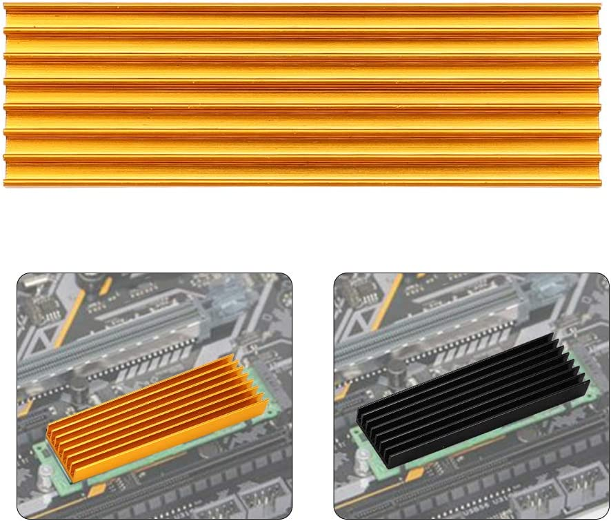 ASHATA Computer Radiator Accessories PCIE M.2 SSD 2280 Cooler Heat-Conductive Silicone Cooling Fin for Desktop Computer Golden