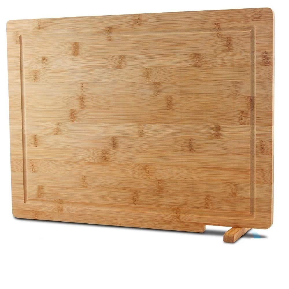 HHXRISE Venfon Extra Large Self Standing Bamboo Kitchen Cutting Board With Juice Groove, Reversible Heavy Duty Butcher Block, Cheese board, Chopping Carving Board, Serving Tray, 17x12.6, BPA free