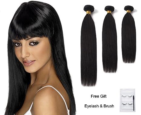FOCUSSEXY 12 quot  14 quot  16 quot  50g Bundle Straight Brazilian Virgin  Hair Remy Human 2f4d1fb191dc
