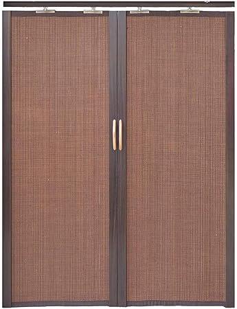 Jcnfa-Roller Cortina de bambú plegable puerta corredera doble izquierda y derecha partición cortina cocina dormitorio balcón parasol alta tasa de sombreado, bambú, marrón oscuro, W45cm XH110cm: Amazon.es: Hogar
