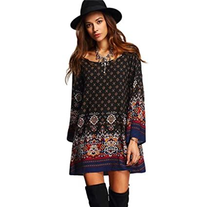 Joint 2018 Summer Womens Bohemia Long Sleeve Vintage Party Beach Dress Casual Vestidos (Small)